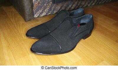 chaussures, plancher, noir, parquet, homme, stands