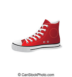 chaussures, rouges, sports