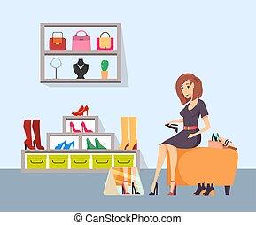 chaussures, shopaholic, vecteur, femme, essayer, magasin
