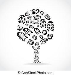 chaussures, silouette, -, arbre, illustration, impression