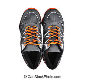 chaussures, sommet, isolé, fond, nouveau, blanc, sport, unbranded, vue