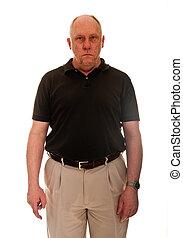 chauve, chemise noire, homme, plus vieux