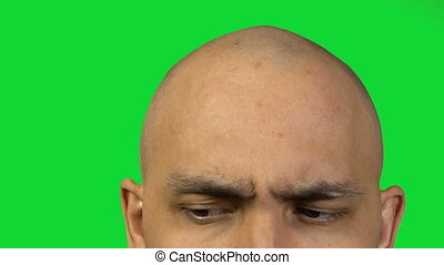 chauve, figure, arrière-plan vert, moitié, homme