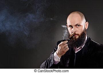 tuyau fumer barbu homme chauve barbu lot habill photo de stock rechercher images et. Black Bedroom Furniture Sets. Home Design Ideas