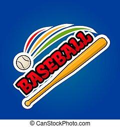 chauve-souris, balle, conception, bois, vecteur, en mouvement, logo, base-ball