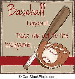 chauve-souris, bois, vendange, moufle, gant, base-ball, ou