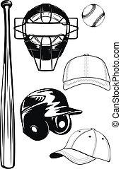 chauve-souris, casquette, casque, ensemble, balle, masque