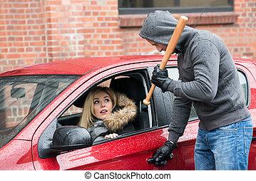chauve-souris, femme, voiture, regarder, quoique, base-ball, tenue, voleur