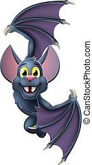 chauve-souris, halloween, caractère, vampire, signe, dessin animé