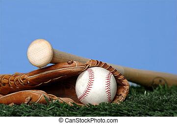 chauve-souris, herbe, base-ball