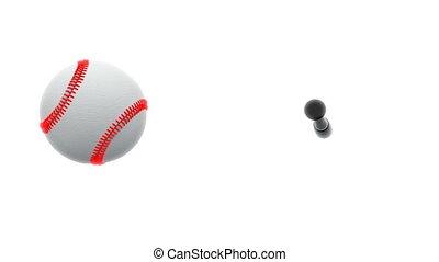 chauve-souris, lent, accès, mouvement, boule base-ball