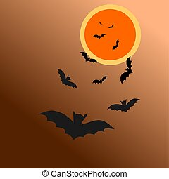 chauve-souris, lune, halloween, illustration, night., ensemble, vector.