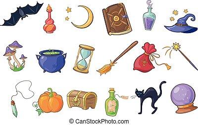 chauve-souris, magie, balai, ensemble, citrouille, magicien, livre, poitrine, cristal, vecteur, chapeau, signes, illustrations, potion, boule halloween, sablier