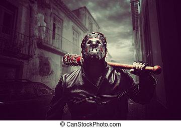 chauve-souris, masque, sanglant, base-ball, hockey, psycho, ...