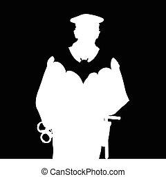 chauve-souris, vecteur, silhouette, policier