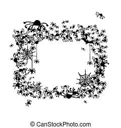 chauves-souris, cadre, fait, halloween, araignées