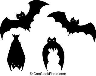 chauves-souris, ensemble, halloween
