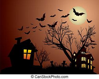 chauves-souris, hanté, chats, halloween, maison