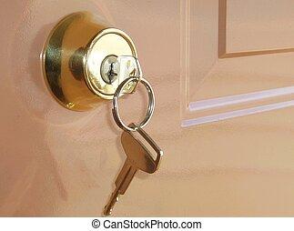 chave dentro, um, fechadura