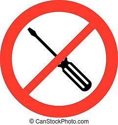 chave fenda, proibição, ícone