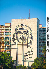 Che Guevara image in front of Revolution square, Havana - ...