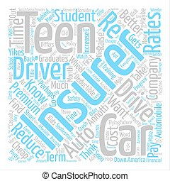 Cheap Auto Insurance For Your Teen Or Maybe Not Word Cloud Concept Text Background