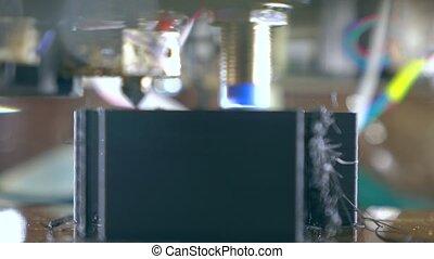 Cheap DIY 3d printer in action, close up 4K shot