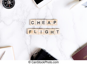 Cheap flight travel text poster for travel agency