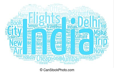 Cheap Flights and Hotels in Top Indian Destinations text background word cloud concept