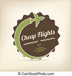 Cheap flights badge for travel company offers