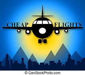 Cheap Flights Means Low Cost Promo 3d Illustration
