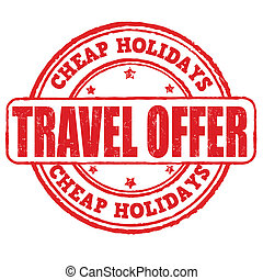 Cheap holidays, travel offer stamp