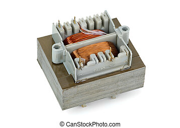 Cheap power transformer  isolated on the white background
