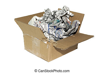 Cheap variation of package for fragile item. Cardboard box with newspapers isolated on white background.