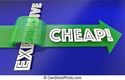 Cheap Vs Expensive Arrow Save Money 3d Illustration
