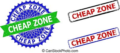 CHEAP ZONE Rosette and Rectangle Bicolor Seals with Scratched Surfaces