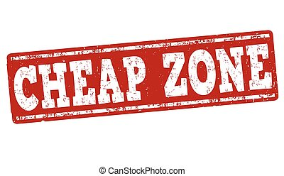 Cheap zone grunge rubber stamp on white, vector illustration