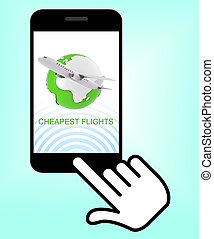 Cheapest Flights Represents Low Airfares 3d Rendering