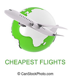 Cheapest Flights Represents Low Cost Airfares 3d Rendering