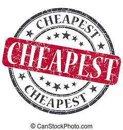 Cheapest red grunge round stamp on white background