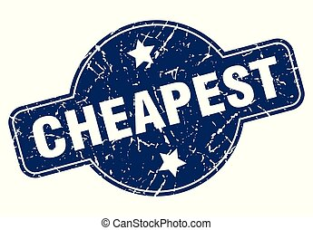 cheapest sign - cheapest vintage round isolated stamp