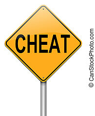 Cheat concept. - Illustration depicting a roadsign with a ...
