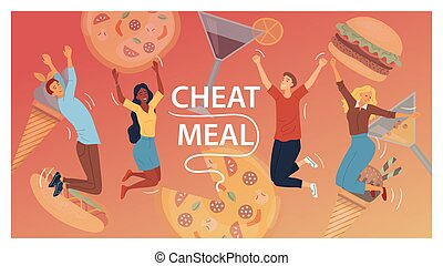 Cheat Meal Concept. Multiracial Happy People, Are Jumping Of Happy Among Junk Food. Cocktails, Pizza, Ice cream, Hamburger, Hot Dog. People Eat Fast Food. Cartoon Flat Style. Vector Illustration