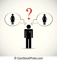 cheat partner man think about two women pictogram