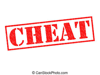 CHEAT red Rubber stamp over a white background.