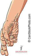 Cheater hand with crossed fingers, detailed vector illustration.