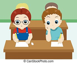 cheating in class - vector illustration of a boy cheating by...
