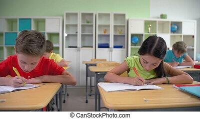 Cheating on Exam - Pretty schoolgirl cheating on exam and...