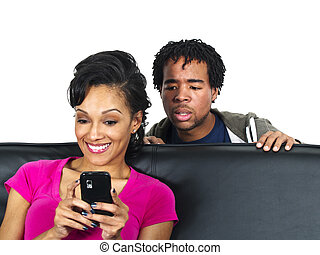 Cheating Spouse - man snooping on females text messages