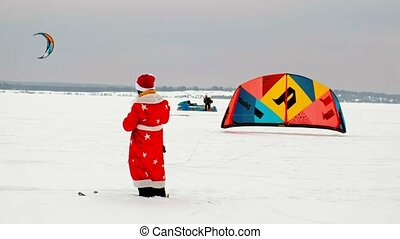 CHEBOKSARY, RUSSIA - DECEMBER 31, 2018: Snowkiting athlete,...